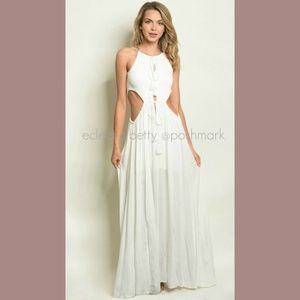 Boho Maxi Dress Ivory White Side Cut Out Crepe